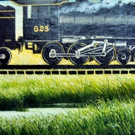 Liliana Neret Artwork Over on Slver Pond, 2009 Oil Painting, Trains