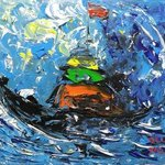 sail in the storm 60cmx50cm arcylic on canvas By Zhao Lily