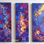 Abstract Artworks Set of 3 The Road By Linda Paul