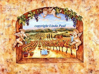 Linda Paul: 'Angels in The Vines', 2009 Tempera Painting, Landscape. Artist Description:  Original sculpted bas relief & egg tempera angels and wine country landscape painting by Linda Paul ...