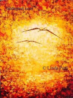 Acrylic Painting by Linda Paul titled: Flight  Abstract Art painting, 2014