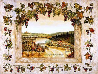 Artist: Linda Paul - Title: Grapes n Vines  Vineyard painting by Linda Paul - Medium: Tempera Painting - Year: 2009