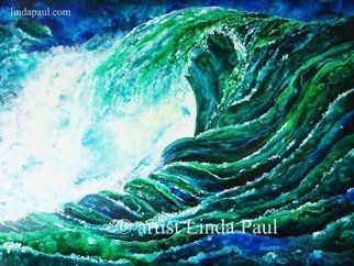Linda Paul: 'Ocean Waves large Original Painting', 2015 Acrylic Painting, Abstract Landscape.    By artist Linda Paul Super Amazing deal on this Large Ocean Waves original PaintingIts great for coastal decorating or beach house decor. Great blue and green colors ...