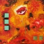 Poppy  Contemporary Art painting by Linda Paul By Linda Paul