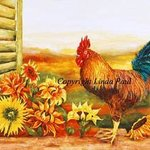 Rooster  and Sunflowers   French Country Art Painting By Linda Paul
