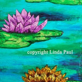 Linda Paul Artwork Water Lilies Vibrant Contemporary Art Painting, 2012 Acrylic Painting, Floral