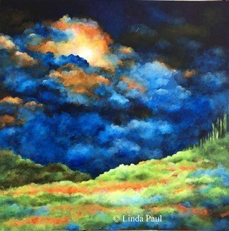Linda Paul: 'enlightenment', 2018 Acrylic Painting, Abstract Landscape. Sky, clouds and fields contemporary landscape painting in blue, green  and orange. Inspirational art. ...