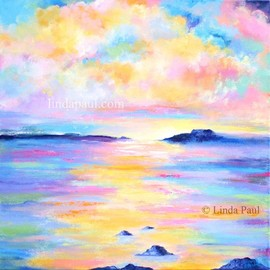 Linda Paul: 'ocean dreams painting', 2020 Acrylic Painting, Sky. Artist Description: Ocean Dreams from American artist linda Paul .  One of a kind original work of art. Its perfect for beach house or coastal themed decor by American artist Linda PaulFabulous  colors of blue, gold, pink white,  and pale yellow.  You can decorate an entire room around these colors...