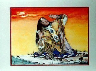 James Dailey: 'THE PRAYER', 2008 Watercolor, Western. Artist Description:  I DID THIS IN SPOKANE WA. I TOOK THE BACK GROUND OUT AND PAINTED IN YELLOW THOUGHT IT GIVE IT A MORE MYSTIC LOOK OF A NORTHWEST INDIAN COMING OF AGE. NOTICE THE BLANKETS DHE IS SITTING ON . . THEY ALL HAVE A MEANING. .     ...