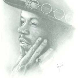James Dailey Artwork jimi hendrix, 2010 Pencil Drawing, Americana