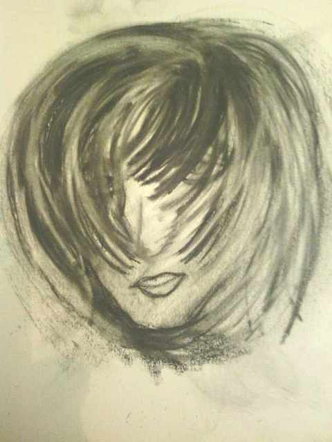 Lisa Anderson  'Just A Girl', created in 2012, Original Drawing Charcoal.