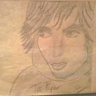Portrait Charcoal Drawing by Lisa Anderson Title: Syd Barrett, created in 2012