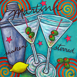 Lisa Lorenz: 'Retro Martini', 2007 Acrylic Painting, Still Life. Artist Description:  Bold, colorful Martinis and shaker painted in a retro, colourful, lively composition.    ...