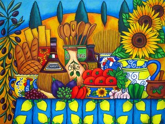 Lisa Lorenz: 'Tuscany Delights', 2007 Acrylic Painting, Cuisine. Artist Description:  All the delights and colours of beautiful Tuscany painted in a stylish, colourful, lively composition. ...