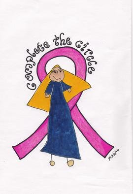 Lisa Parmeter: 'Complete The Circle', 2006 Watercolor, Healing. Artist Description:  Daughter painted this for a Breast Cancer Awareness poster. . I think it is FABULOUS.  If anyone is interested in using it, contact me.  ...
