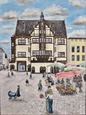 Lisa Parmeter: 'Schweinfurt Embrace', 2007 Oil Painting, Military. Artist Description:  Schweinfurt, Germany, Markplatz. ...