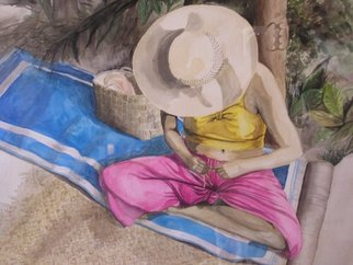 Lisa Parmeter: 'Tahitian Basketweaver', 1996 Watercolor, Travel. Artist Description:  Tahitian Basketweaver, saw her while touring Bora Bora on honeymoon many years ago.      ...