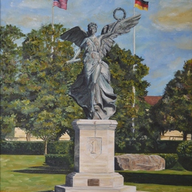 Lisa Parmeter: 'Winged Victory', 2003 Oil Painting, Military. Artist Description:  Winged Victory, 1st Infantry Division in Wuerzburg, Germany before she was moved to Fort Riley, Kansas with the Division HQs. ...