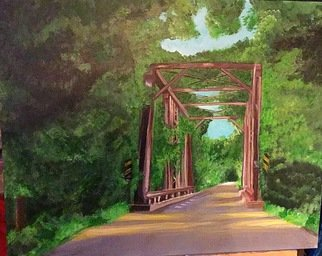 Linda Lewis Artwork kentucky bridge, 2017 Acrylic Painting, Abstract Landscape
