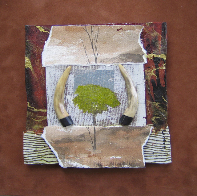 Liz London  'Long Horn Ranch', created in 2006, Original Collage.