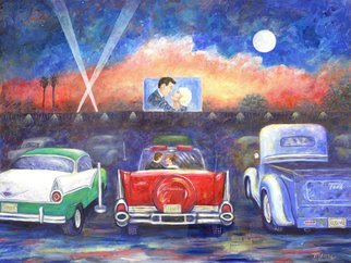 Linda Mears: 'drive in movie', 2018 Acrylic Painting, Automotive.