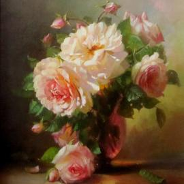 Serge Akopov: 'roses', 2014 Oil Painting, Still Life. Artist Description: painting, still life, oil painting, flowers...