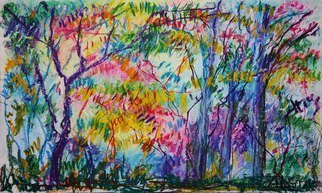 Andreas Loeschner Gornau Artwork In the forest 1, 2012 Pastel Drawing, Landscape