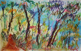Andreas Loeschner Gornau Artwork In the forest 4, 2012 Pastel Drawing, Landscape