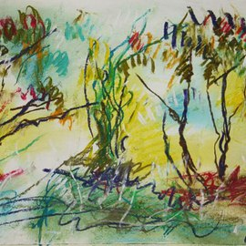 Andreas Loeschner Gornau Artwork In the forest 6, 2012 Pastel Drawing, Landscape