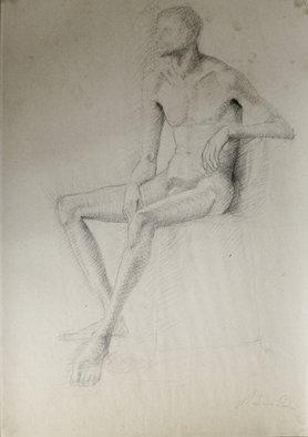 Andreas Loeschner Gornau Artwork Study male nude sitting, 1982 Graphite Drawing, Nudes