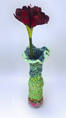 Andreas Loeschner Gornau: ' Small vase 7, picture 5 of 5', 2014 Crafts, Botanical. Artist Description:  Small vase 7, picture 5 of 5 Crochet over glass 15 x 15 x 40 cm by Andreas Loeschner- Gornau 2014sale without flower...