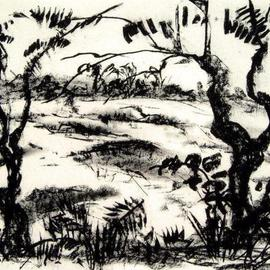 Andreas Loeschner Gornau Artwork omewhere on the island of Boho, 2006 Charcoal Drawing, Landscape