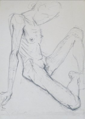 Andreas Loeschner Gornau Artwork sitting nude drawing, 1983 Graphite Drawing, Nudes