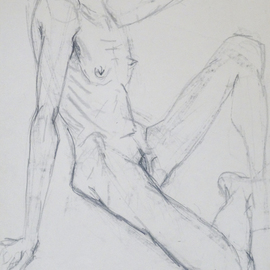 sitting nude drawing