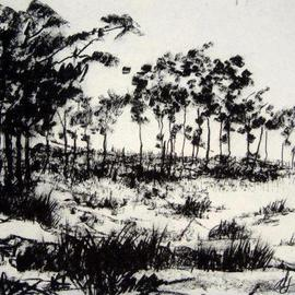 Andreas Loeschner Gornau Artwork somewhere on the island of Bohol, 2006 Charcoal Drawing, Landscape