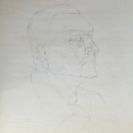 Andreas Loeschner Gornau Artwork study Portrait, 1983 Graphite Drawing, Portrait