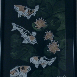 Lohith Kesarmadhu: 'Koi  ', 2007 Acrylic Painting, Fish. Artist Description:  This painting i did refers to love and affection in bonding and togetherness. Koi fish are very closely related to goldfish and, in fact, the style of breeding and ornamentation has become very similar, probably through the efforts of Japanese breeders to emulate goldfish. Koi and tattoos of ...