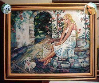 Vranceanu Aurelian Artwork The lady at the well , 2014 Oil Painting, Romance