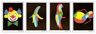 Asbjorn Lonvig Artwork 1200 posters in sets of 4 motifs Clown Banana Parrot Shoe, 2014 Other Printmaking, Humor