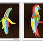 1200 posters in sets of 4 motifs Clown Banana Parrot Shoe By Asbjorn Lonvig