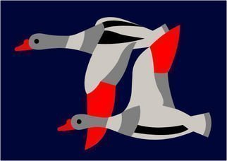 Asbjorn Lonvig: '2 Ducks', 2010 Serigraph, Abstract.             For sale is 1 original inks on canvas, size: 84 x 59,4 cm ( 33. 1i? 1/2 x 23. 4i? 1/2) , price is US$ 8,632.For sale is furthermore 210 exclusive fine art prints numbered and signed archival inks on cotton, that is on Hahnemi? 1/2hle Museum Etching 350gsm fine art...