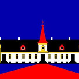 Agersboel Manor House on paper or canvas By Asbjorn Lonvig