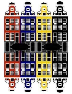Asbjorn Lonvig: 'Amsterdam Architecture Merchant houses', 2010 Serigraph, Abstract.  Amsterdam has a rich architectural history. The oldest building in Amsterdam is the Oude Kerk ( Old Church) , at the heart of the Wallen, consecrated in 1306. The oldest wooden building is het Houten Huys[ 49] at the Begijnhof. It was constructed around 1425 and is one of only two existing...