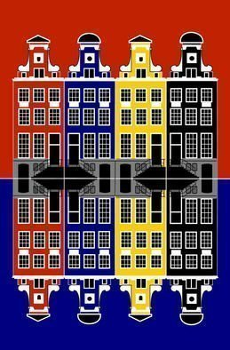 Asbjorn Lonvig: 'Amsterdam Architecture Merchants houses', 2010 Serigraph, Abstract.  Amsterdam has a rich architectural history. The oldest building in Amsterdam is the Oude Kerk ( Old Church) , at the heart of the Wallen, consecrated in 1306. The oldest wooden building is het Houten Huys[ 49] at the Begijnhof. It was constructed around 1425 and is one of only two existing...