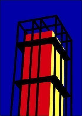 Asbjorn Lonvig: 'Arne Jacobsen Tower', 2010 Serigraph, Abstract.        For sale is 1 original inks on canvas, size: 84 x 59,4 cm ( 33. 1i? 1/2 x 23. 4i? 1/2) , price is US$ 8,632.For sale is furthermore 210 exclusive fine art prints numbered and signed archival inks on cotton, that is on Hahnemi? 1/2hle Museum Etching 350gsm fine art...
