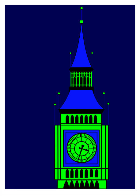 Asbjorn Lonvig  'Big Ben Green On Blue', created in 2016, Original Painting Other.