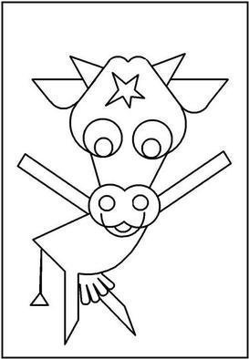 Asbjorn Lonvig: 'Blue Cow FREE', 2003 Illustration, Abstract. Have a coloring book about farmer Jack and his animals - FREE.