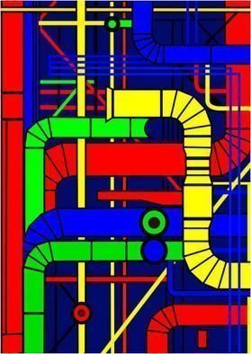 Asbjorn Lonvig: 'Centre Pompidou Left', 2010 Serigraph, Abstract.                                                 For sale is 1 original inks on canvas, size: 84 x 59,4 cm ( 33. 1i? 1/2 x 23. 4i? 1/2) , price is US$ 8,632.For sale is furthermore 210 exclusive fine art prints numbered and signed archival inks on cotton, that is on Hahnemi? 1/2hle Museum Etching 350gsm fine art...