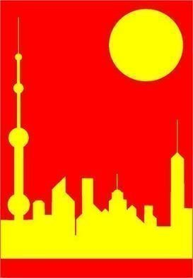 Collage by Asbjorn Lonvig titled: China Five Shanghai Sunshine, created in 2005