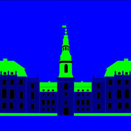 Asbjorn Lonvig: 'Christiansborg Palace Blue', 2006 Acrylic Painting, Abstract. Artist Description: Christiansborg Palace on Slotsholmen in central Copenhagen is the home of Denmark' s three supreme powers: the executive power, the legislative power, and the judicial power. It is the only building in the world which is the home of all a nation' s three supreme powers. The palace ...